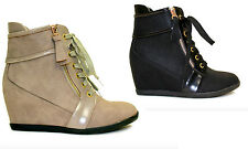 Reneeze BEATA-07 Women High Top Wedge Heel Lace Up Side Zip Sneaker Ankle Bootie
