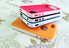 2-Piece Hybrid Rubber Rugged Combo Matte Hard Soft Case Cover For iPhone 4 4S