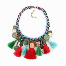 string braided vintage chain tassel crystal pendant ethnic women necklace jewel