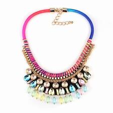 new rope colorful crystal pendant chunky statement gold chain necklace for women