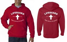 LIFEGUARD HOODIE SHIRT MINE WALKS ON WATER CHRISTIAN CHRISTJESUS LIFE RED Frt-Bk