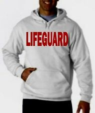 "LIFEGUARD HOODIE HOODY JACKET SWEATSHIRT LIFE GUARD SHIRT WHITE 4"" TALL Frt"