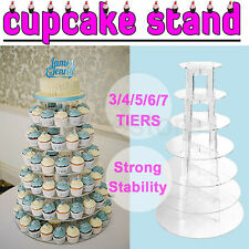 3/4/5/6/7 Tier Clear Acrylic Round Cupcake Cake Stand Wedding Party Birthday NEW