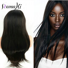 "Silky Straight 100% Indian Remy Human Hair 12""-24"" Lace Front/Full Wig For Black"