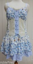 NEW Gorgeous BOHO Lace-Up Front Blue Print Dress SIZES 10 - 16