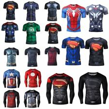 3D Superhero Marvel Comic Compression T-shirt Long Short Sleeve Costume Jersey