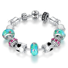 Women Glass Murano Lampwork Charm Bead Chain Cuff Silver Bangle Bracelet Jewelry