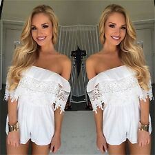 Women's Sexy Off Shoulder Ruffles Lace Bodycon Jumpsuit Playsuit Rompers Shorts