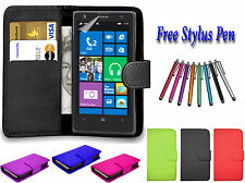 PU Leather Side Open Book Flip Wallet Case Cover Holder For Nokia Lumia 735 UK