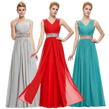 V Neck Long Chiffon Evening Prom Party Dress Bridesmaid Formal Wedding Cocktail