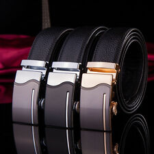 Fashion Mens Belt Black Alloy Automatic Buckle Genuine Leather Waist Strap Belts