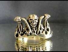 "Mens Bronze "" MAD MAX CRAZY BIKER ON CHOPPER "" Biker Ring - US Sizes 6 - 20"