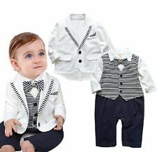 Baby Boy Wedding Christening Formal Tuxedo Suit+White Jacket Outfits Set 3-24M