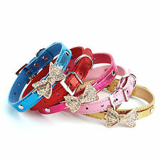 Bling Crystal Rhinestone Bow Tie Bowknot PU Leather Pet Cat Dog Collar XS S M