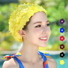 Ladies Swimming Hat Vintage Swim Hat Floral Flowers Long hair Bathing Cap M/L
