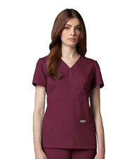 Greys Anatomy 4153 Wine Junior Fit  3 Pocket Mock Wrap Scrub Top