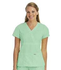Greys Anatomy 4153 Honeydew Junior Fit  3 Pocket Mock Wrap Scrub Top