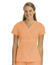 Greys Anatomy 4153 Citrus Orange Junior Fit  3 Pocket Mock Wrap Scrub Top