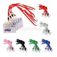Lot 10 NECK Flat LANYARD ID BADGES Strap Holder Cord String With Plastic Clasp