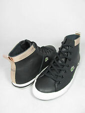 NEW WOMEN LACOSTE RAMER HI RUS SPW LEATHER BLACK GOLD ORIGINAL 7-25SPW40051V7