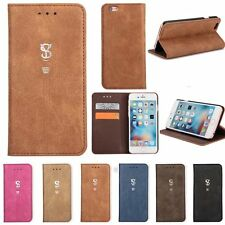 Luxury Cowhide Flip Leather Wallet Cover Case For Apple iPhone 5 5s 6 6s Plus