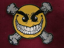 "PATCH,  ""CHAOS SMILEY - CROSSBONES"",  embroidered patch,  #PH369"