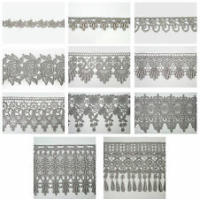 "5/8"" - 5-1/8"" Wide Silver Gray Grey Embroidered Venice Lace Guipure Trim by Yard"