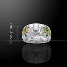 Scottish Thistle .925 Sterling Silver and Gold Emerald Glass Ring by Peter Stone