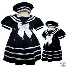 New Girl Toddler Sailor Party Formal Dress Outfits size S,M,L, XL,2T,3T.  Navy
