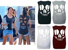 WOMEN LADIES BACK OPEN SKULL LASER CUT OUT SLEEVELESS T-SHIRT VEST TOP 8-14