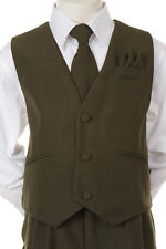 Boy Holiday Party Wedding Presentation Formal Vest Suit O. Green 12M 18M- 12 14