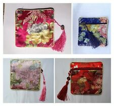 Women's Silk Blend Pouch Girls Small Wallets Coin Purse Mini Chinese Style Case