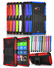 Nokia Lumia 735 Shockproof Tough Armour Case Cover with Stand & Stylus