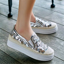 4.5-10.5 Womens Shoes Fashion Leather Sneakers Flat Platform Glitter Casual Shoe
