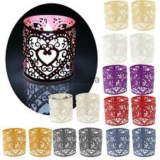 6x Laser Cut Heart LED Tea Light Holder Votive Candle Holder Wedding Party Decor