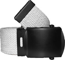 WHITE BELT WITH BLACK BUCKLE 100% Cotton Military Web Belts Rothco 4294