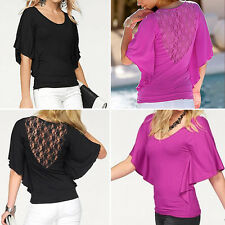 Women Casual Flare Sleeve Slim Fit Sheathy Bobycon Blouse Top Pullover T-Shirt