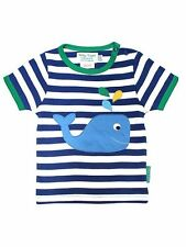 TOBY TIGER ORGANIC COTTON WHALE APPLIQUE T-SHIRT.BLUE. BNWT! 0-6 YEARS!