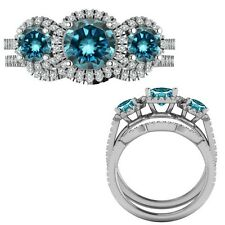 2.35 Carat Blue Diamond Designer Three Stone Halo Ring + Band 14K White Gold