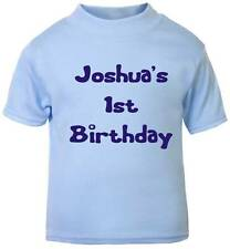 Personalised 1st BIRTHDAY T-SHIRT BLUE with royal text boy 6-12 month 1-2 years