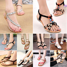 New Summer Womens Bohemia Sandals Shoes Casual T-Strap Flip Flops Beach Slippers