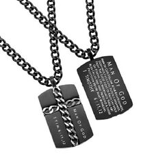 Christian Dog Tag Cross Chain Necklace,MAN OF GOD 1 Tim 6:11, Steel Curb Chain