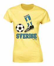 Ladies Football Boot T-Shirt SVERIGE SWEDEN Supporter Top