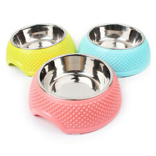 Dog Cat Pet Feeders Feeding Bowls Stainless Steel Water Food Treat Single Bowl r
