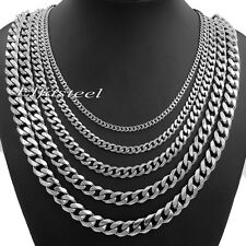 3/5/7/9/11mm MENS Stainless Steel Silver Tone Curb Chain Necklace 18-36'' inch