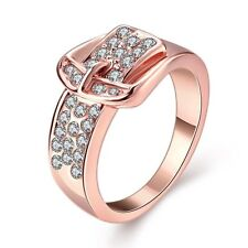 18K Rose Gold Filled GP Sapphire Swarovski Crystal Wedding Bride Band Women Ring