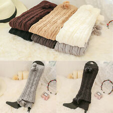 Winter Womens Lady Soft Cable Knit Over knee Boot Thigh-High Long Socks Hose