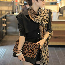 Women Long Soft Wrap Lady Shawl Silk Leopard Chiffon Scarf Shawl Plush