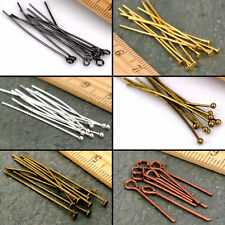Wholesale 50/200Pcs Eye Pin Flat Head Pins Needles 16-60mm Craft 6 Colors Pick