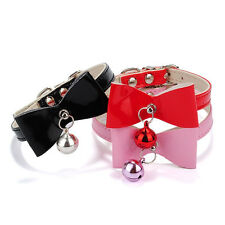 3 Colors PU Leather Bowknot Bell Cat Dog Necklace Puppy Collar Pet Supplies